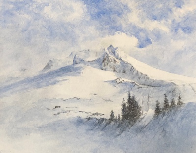 2018 0913 Mt Hood with Silcox Hut